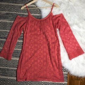 Xhilaration coral Cold Shoulder Lace Dress
